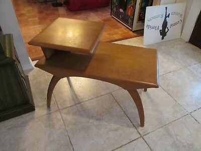 Mid Century Modern End Table By Heywood Wakefield M908 Wheat Champagne Wishbone