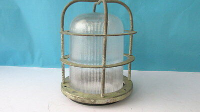 Old Vintage Industrial Factory Bulkhead Cage Lamp Light original  Authentic