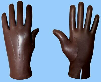 NEW MENS UNLINED BROWN GENUINE GOATSKIN LEATHER GLOVES-Free Worldwide Shipping !