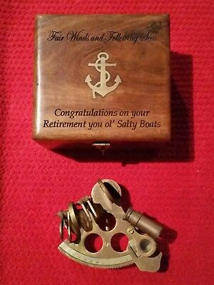 Nautical Marine Brass Sextant & Brass Inlaid Wooden Box - Navy Collectable Set