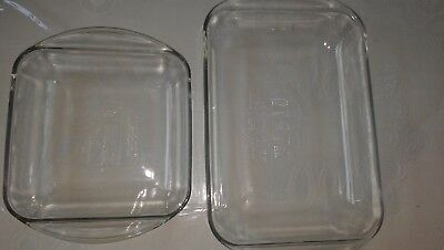 "Two ANCHOR HOCKING Clear Glass Baking Dishes, 3qt. 9""x13"" &  2qt 8""x 8"""
