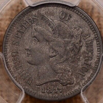 1877 Rare Date 3 cent nickel, PCGS AU det, affordable coin   DavidKahnRareCoins