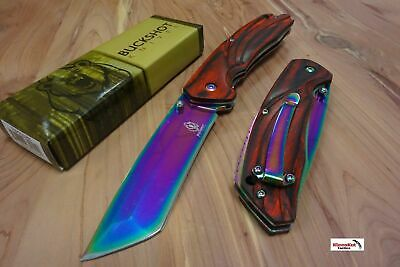 "8"" Buckshot Rainbow Spring Assisted Open Tanto Blade Tactical Pocket Knife Wood"