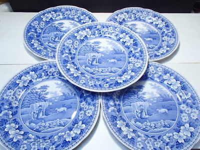 """5 Spode Blue Room Collection 'MILK MAID' 10"""" DINNER PLATE Made in England"""