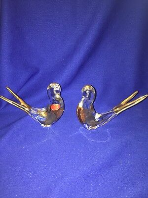Vintage Mid Century Murano Italy Art Glass Pair Of Doves Accented