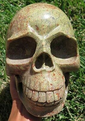 10LB 8.1OZ Stunning Natural Green Snowflakes Jasper Crystal Carving Art Skull