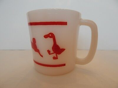 Hazel Atlas Milk Glass Child's Mug With Red Rooster Pig Lamb Duck