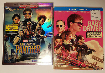 Black Panther + Baby Driver (2x Blu-ray + Slip Covers, Digital Removed)