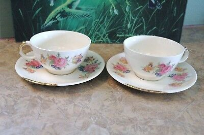 "Paden City Pottery - U.S.A. - ROSALEE - Coffee Cups & 6 1/8"" Saucers (2 each)"