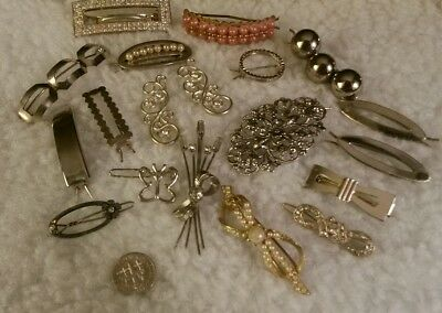 18 Vintage Hair Ornament Barrettes  Rhinestone Bobby Pin Lot