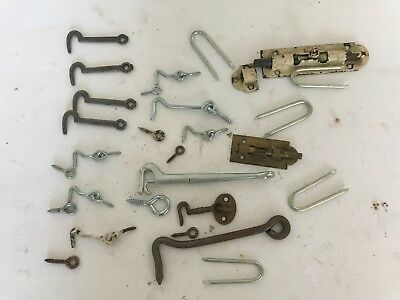 Large Mixed Vintage Lot Used Iron, Brass, Hardware Latch Parts
