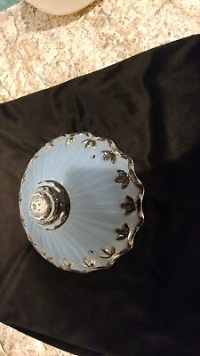 Antique Art Deco BLUE  Frosted (3) Chain Ceiling Fixture Glass Shade