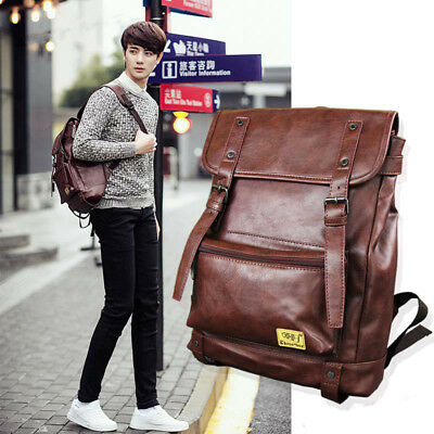 """Mens Womens Faux Leather 14"""" Laptop Backpack for Travel, Business, Work, School"""