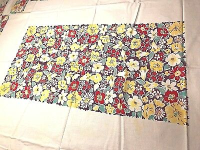 1950's - 1960's  RED, YELLOW, WHITE FLOWER  PATTERN TABLE CLOTH