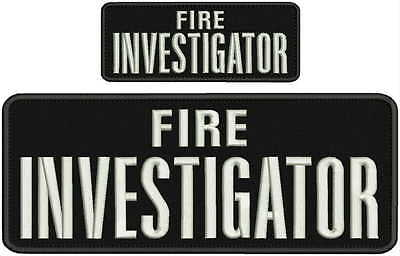 Fire Investigator embroidery patches 4x10 and 2x5 hook white