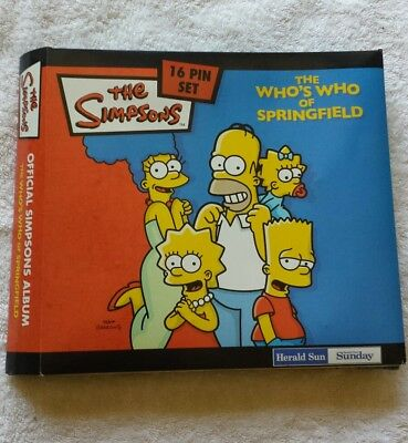 simpsons who's who of Springfield pin set