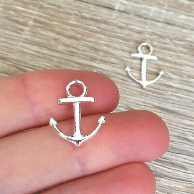 5 Large Anchor Pendant Charms Nautical Hope Anchors Charms Antique Silver 31x43