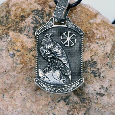 Valknut Odin 's Eagle Design With Slavic Pendant Necklace Viking Talisman
