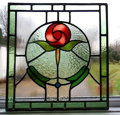 AN ORIGINAL RECLAIMED FULLY RESTORED STAINED GLASS PANEL - Ref SG269