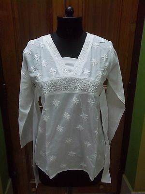 "Top S 38"" 100% Cotton Ethnic Handmade Chikan Embroidery Blouse Dress Tunic Kurta"