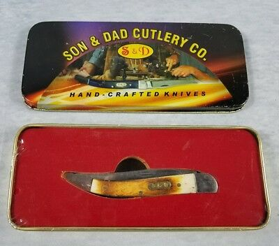Son And Dad Cutlery Co Hand Crafted Bone Handle Knife New Old Stock Sealed
