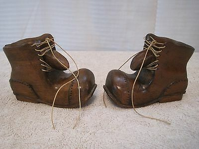 Pair of Detailed Hand Carved Signed Handcrafted Wood Boots laces