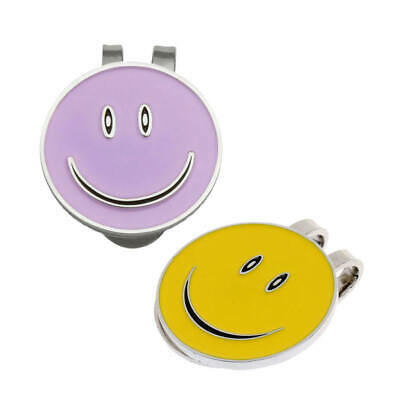 2Pcs Golf Ball Markers with Magnetic Golf Hat Clip - Cute Smile Face Pattern