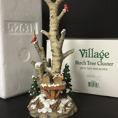 Dept 56 Birch Tree Cluster Two Mailboxes 52631 Dickens Snow Village Christmas