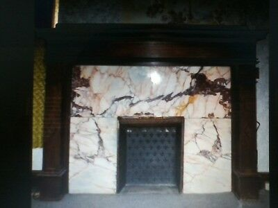 Unique Marble & Oak turn-of-the-century fireplace mantel
