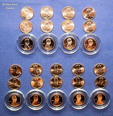 2000, 2001, 2002, 2003 & 2004- 2008 27 Lincoln Cent PDS Set w18 PD BU + 9 Proofs