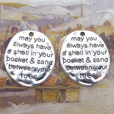 6pcs Old Silver Charms May You Always Have a Shell Word Oval Tag Beads Pendant
