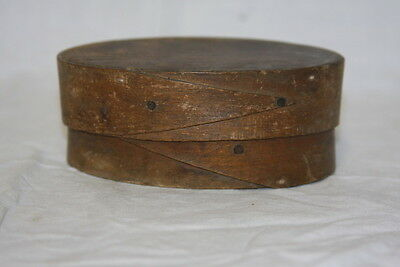 "Antique Shaker Oval Wood Spice Pantry Box  4 x 2 1/2"" SWEET !"
