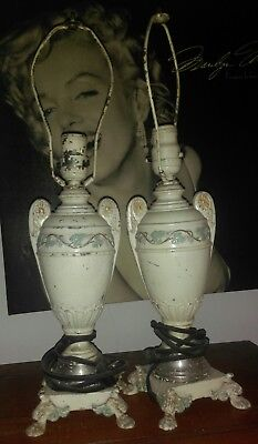 Very Old Unusual Vintage Antique Matching Pair Table Lamp Set From Family Estate