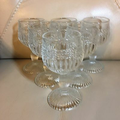 Vintage retro Art Deco 1930s set 6 ribbed clear wine cocktail aperitif glasses