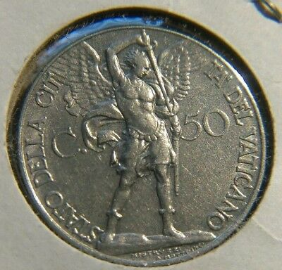 Vatican City 1934 / Xiii  50 Centesimi  Y#4   Uncirculated Archangel With Sword