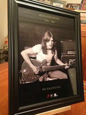 2 BIG 10x13 FRAMED MALCOLM YOUNG 1953-2017 (AC DC) ACDC LP CD TRIBUTE PROMO ADS
