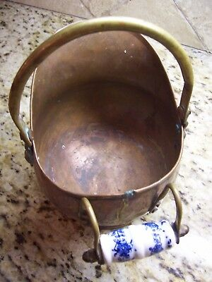 Vtg Copper Brass Lions Head Coal Ash Scuttle Bucket Delft Handle Made In Holland