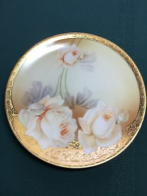 Vintage RS Germany Small Plate with Peach Colored Roses & Gold Trim
