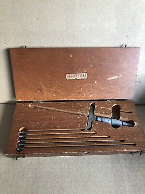"Starrett No. 440 Depth Micrometer Gauge 0-9"" W/ Case And 5 Extended Rods"
