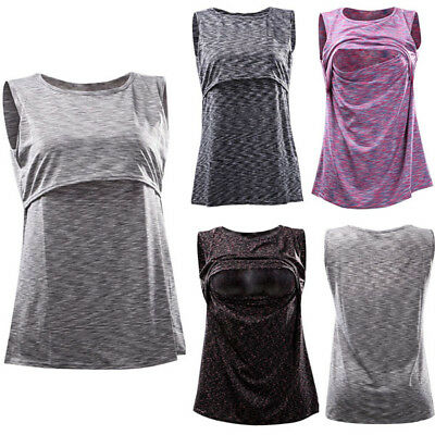 USA Women Maternity Breastfeeding Clothes Tee Sleeveless Nursing Shirt Tank Tops