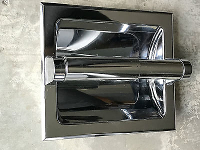 Vintage Chrome Recessed Screwless 1970's Bathroom Toilet Paper Holder in th Wall