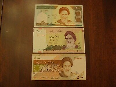 Lot of 3 Iran banknotes-1000, 2000 and 5000 Rials-paper money currency