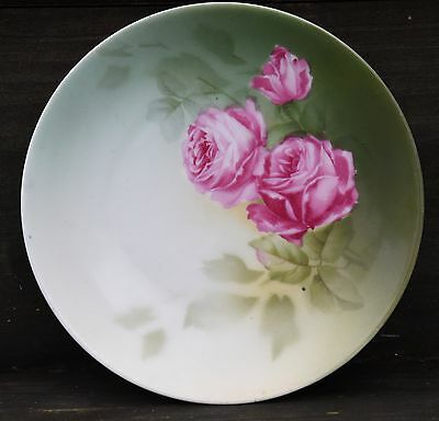 """Rs Germany Green Cabbage Rose Hand Painted Cabinet Plate Antique Victorian 6.5"""""""