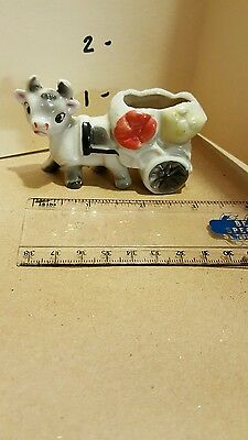 Vintage Antique Japan Cow/Bull/Ox Drawn Cart Wagon Toothpick Holder