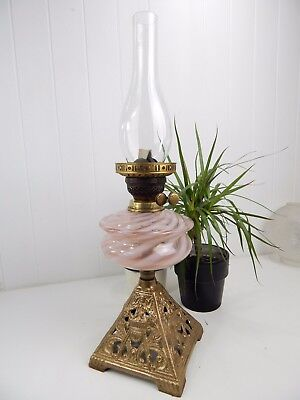 Original Vintage Antique Tall Victorian  Spiral Glass Oil Lamp - Cast Iron Base