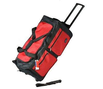 """XL 30"""" 50 LB Capacity Rolling Wheeled Duffle Bag Suitcase Luggage RED BLACK NEW"""