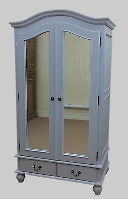 French Style Shabby Chic Painted Large Double Wardrobe With Mirror Doors