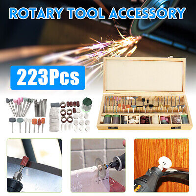 223Pcs Rotary Tool Accessories Bits Set For Grinding Hobby Drill Tool w/ Case
