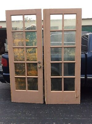 "Pair Vintage Wood Double Glass Pain French Doors - 2"" X 30 1/4"" X 80"" - Good"