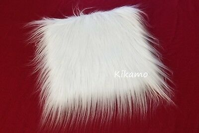 "10"" x 10"" Long Hair White Mongolian Faux Fur Fabric Sew Craft Trim Costume"